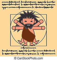 vitruvian ancient man - Vitruvian man in ancient man cartoon...