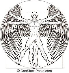 vitruvian, ange, homme