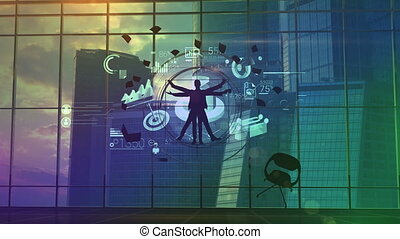 Vitruvian businessman at the center of information flows -...