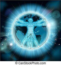 vitruvian, globe, achtergrond, wereld, aarde, man