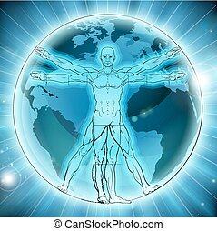 vitruvian, globe mondial, fond, homme, la terre