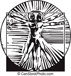 Vitruvian Goat man - woodcut style depiction based on...