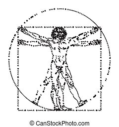 vitruvian, homo, ou, homme, vitruviano