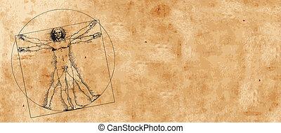 Vitruvian Man by Leonardo Da Vinci (vector); grunge background