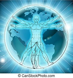 Vitruvian Man Earth Globe World Background - Vitruvian man...