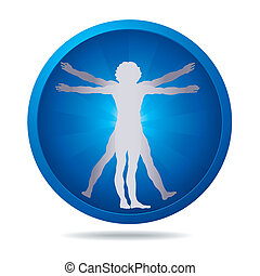 Vitruvian man icon - blue icon with Vitruvian man silhouette...
