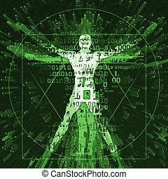 Vitruvian man in cyberspace, green background.