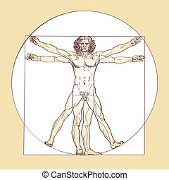 Vitruvian Man Leonardo Da Vinci - vectorized Vitruvian Man,...