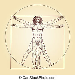 Vitruvian Man Leonardo da Vinci - Illustration of the...