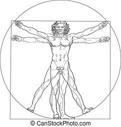 Illustration of the Vitruvian Man, based on the records of Leonardo da Vinci 1490 and the architect Vitruvius. Isolated on white background.