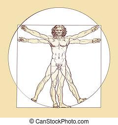 vectorized Vitruvian Man, a drawing created by Leonardo da Vinci 1490, based on the records of the architect Vitruvius