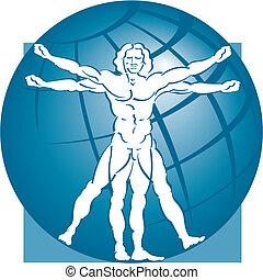 vitruvian man, met, een, globe