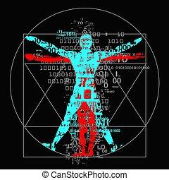 Vitruvian man of digital age. - A grunge stylized drawing of...