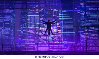 Vitruvian man on the background of neon lights of the city