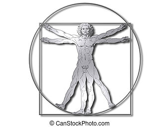 Vitruvian man silver - Leonardo Davinci the vitruvian man in...