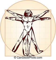 vitruvian man, version), (stylized