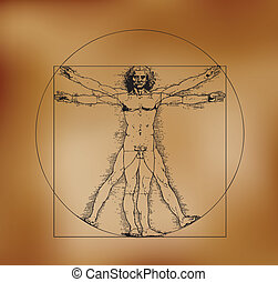 Vitruvian man with crosshatching and sepia tones - A highly...