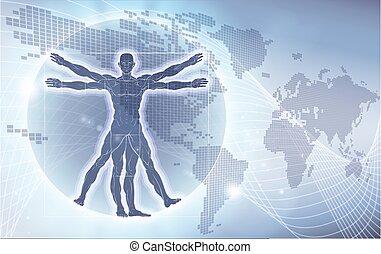 Vitruvian Man World Map Background