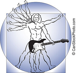 vitruvian mann, mit, gitarre