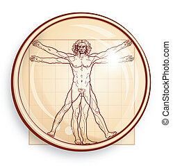 vitruvian, microscope), (under, homme