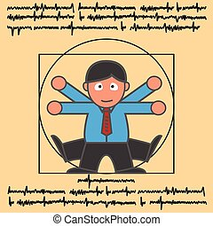Vitruvian modern man - Vitruvian man in modern man cartoon...