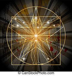 vitruvian, pentagram, voják
