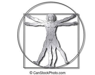 vitruvian, silberner mann