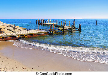 Vitt with wooden jetty near Kap Arkona, Ruegen Island in ...
