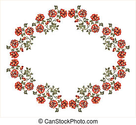 vittoriano, cornice, con, rose rosse