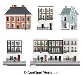 Costruzioni, set, classico, case, terrazzo, inglese. Case ...