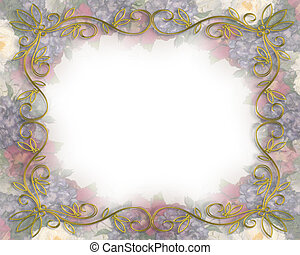 vittoriano, sbiadito, floreale, matrimonio, bord