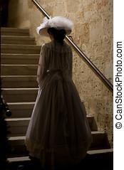 vittoriano, signora, in, castello, scale., 1900, style.