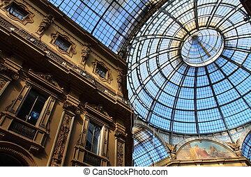vittorio, emanuele, -, glas, milaan, galleria, italië,...