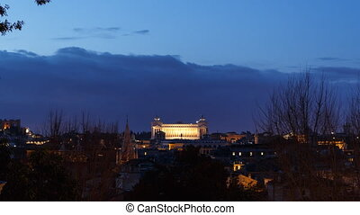 Vittorio Emanuele II at dawn. Zoom. Rome, Italy. Time Lapse