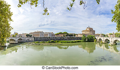 vittorio emanuele II bridge in Rome with view to the castle of the holy angel in Rome, Italy