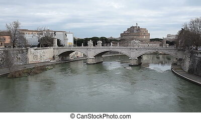Vittorio Emanuele II Bridge Rome Italy - View of Vittorio...