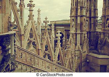 vittorio, emanuele, ii, gallery., catedral de milano, italia