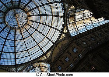 Vittorio Emanuele II Gallery, glass dome and ornaments, Milan, Italy