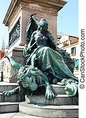 Vittorio Emanuele II Monument located on the Riva degli Schiavoni waterfront in Venice, Italy