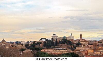 Vittorio Emanuele II. Rome, Italy. TimeLapse