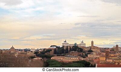 Vittorio Emanuele II. Rome, Italy. Zoom. Time Lapse