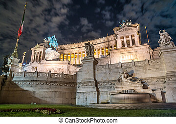 Vittorio Emmanuel II Monument on Venice square in Rome at night, Italy