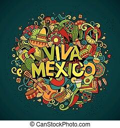 viva, μεξικό , sketchy, περίγραμμα , εορταστικός , φόντο