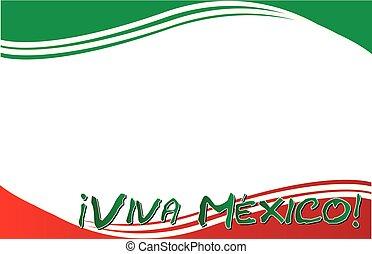 viva, cartolina, bandiera, messicano, messico