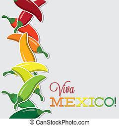viva, chilli, mexiko, format., vektor, karte