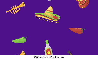 viva mexico animation with mexican culture items ,4k video