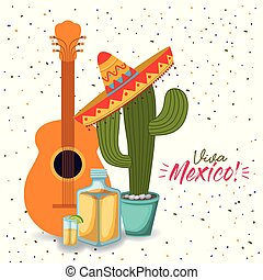 viva mexico colorful poster with guitar tequila and cactus plant with mexican hat