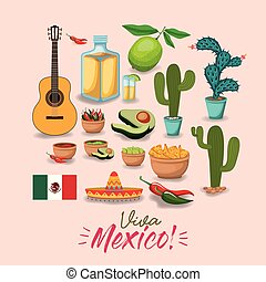 viva mexico colorful poster with traditional mexican elements