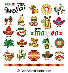 Viva Mexico icon. Set of cute various mexican icons.