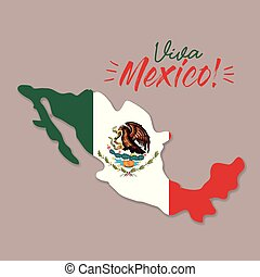 viva mexico poster with mexico map and flag colorful silhouette